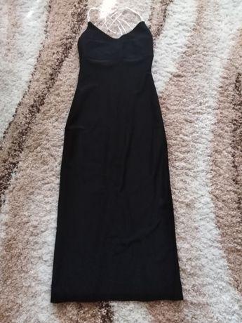 Чёрное длинное платье, сарафан