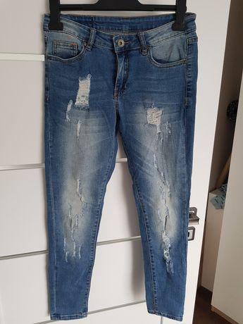 Jeansy dżinsy spodnie rurki przecierane