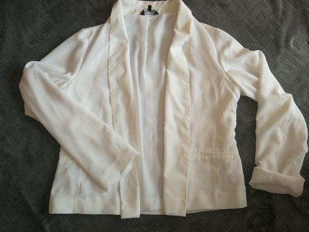 Biała marynarka New look (szyfonowa, narzutka), r. 42 (UK14)