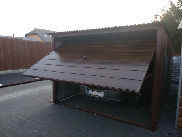 Garaż blaszany 3mx5m blacha kolor orzech drewnopodobny