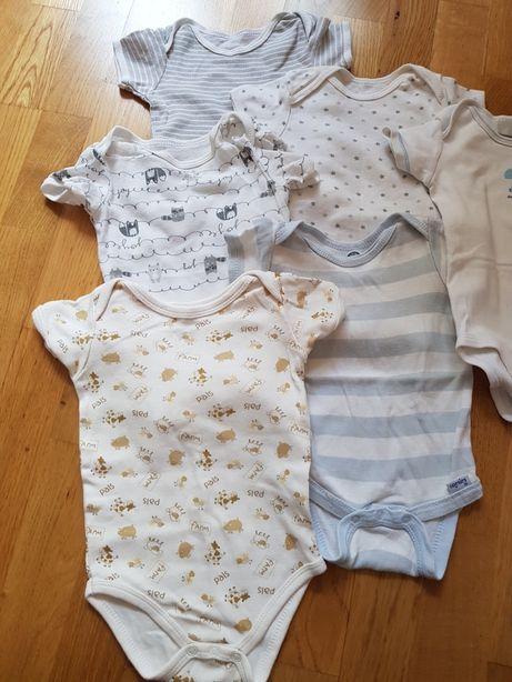 Body niemowlęce krótki rękaw 56 62 6 sztuk