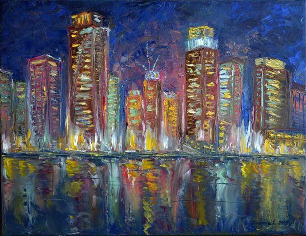 "Картина ""Dubai. Ночные огни"". Холст. Масло. 50х65"