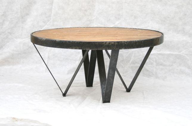 Stolik kawowy | loft industrialny okrągły | stare drewno kuta stal