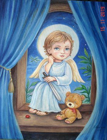 "Картина ""Ангел Хранитель"" холст, акрил"