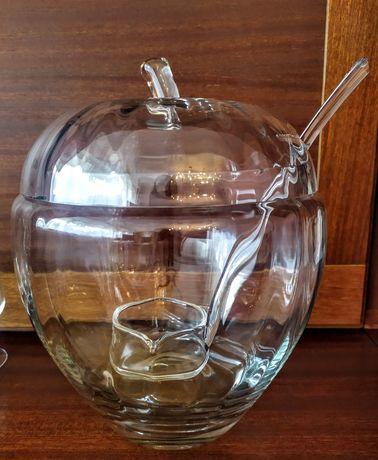 Waza do ponczu, kompotu szklana z chochlą ze szkła