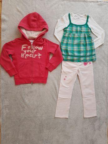 Zestaw ubrań dla dziewczynki spodnie h&m, bluza reserved roz 110/116