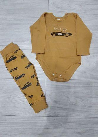 Pinokio body 86 plus spodnie dres leginsy r 80 komplet autka cars
