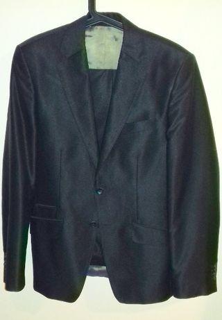 Czarny garnitur męski, rozmiar S/M, wzrost 176 cm, firma Jan Kowalski