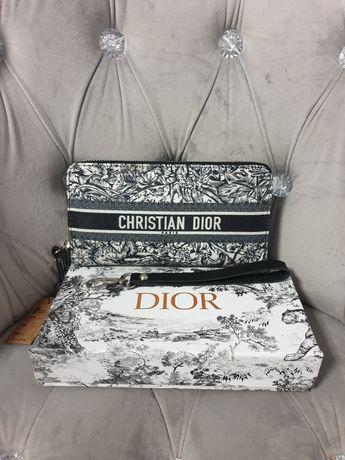 Portfel damski czarno bialy boho CD Christian Premium dior