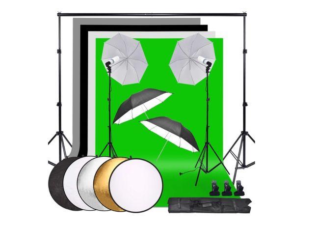 Kit de estúdio fotografia e vídeo fundos + estrutura + sombrinhas