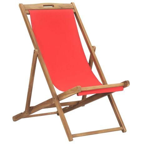 vidaXL Cadeira de praia dobrável madeira de teca maciça vermelho 47417