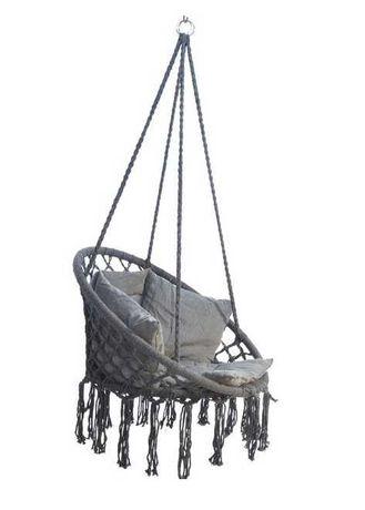 Bocianie gniazdo z poduszką, fotel brazylijski szary, wiszący