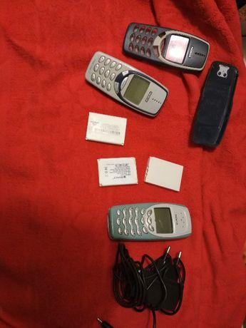 Nokia 3310 i 3410 plu ładowarka, stare baterie i obudowa