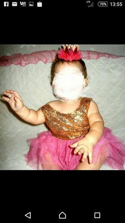 Prześliczna cekinowa sukieneczka na roczek