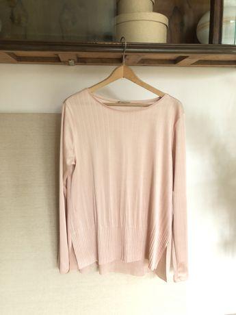 Bluzka ZARA 38 M pudrowy róż, bluzka z połyskiem, modna bluzka różowa