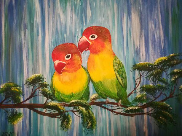 Картина Попугаи - неразлучники