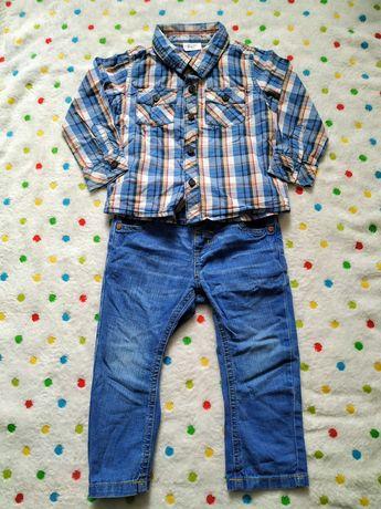 Koszula w kratę i spodnie jeansy rozmiar 80
