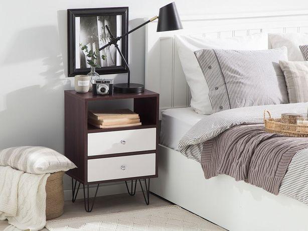 Mesa de cabeceira com 2 gavetas marrom e branco ARVIN - Beliani