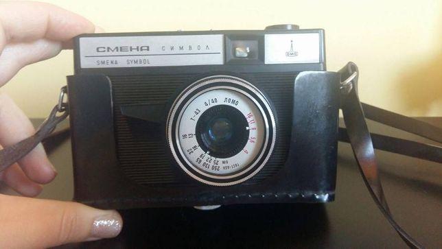 Stary aparat fotograficzny, CMEHA, SMENA, rosyjski + lampa błyskowa