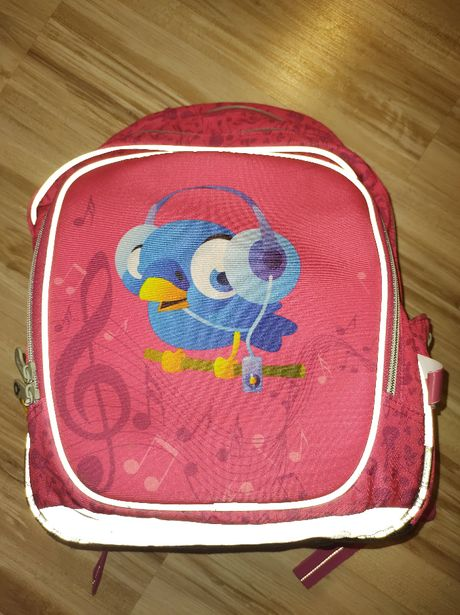 Plecak dla dziewczynki firmy Topgal. Różowy z ptaszkiem.