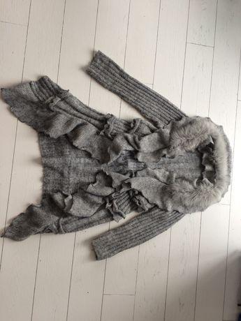 Sweter wełna jasno szary futerko M