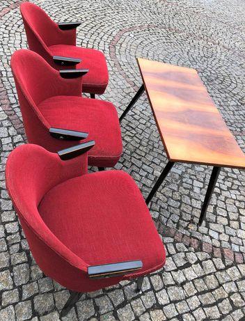 Zestaw - trzy fotele + stolik z czasów PRL