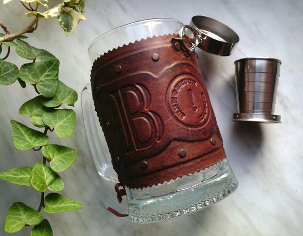 Прикол подарок кружка для пива и водки кожа