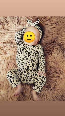 Komplet niemowlęcy w panterkę r.62 H&M