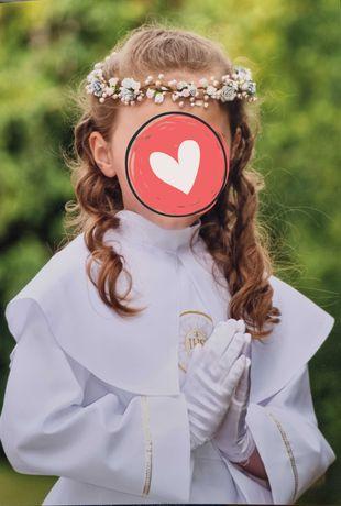 Piękna alba dziewczęca z wiankiem i dodatkami - rozm 134/140