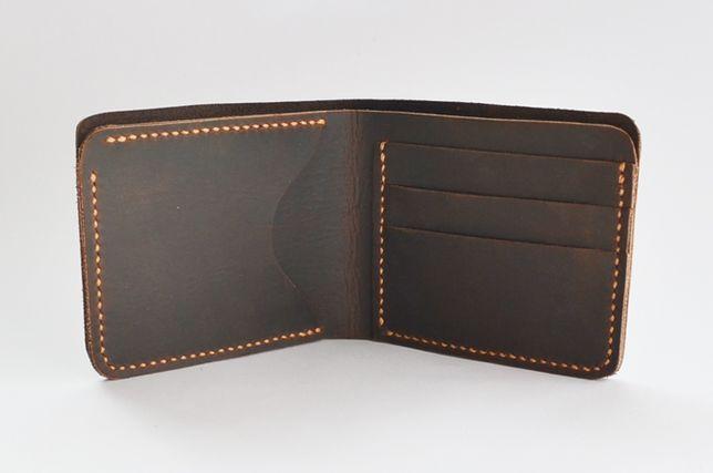 Небольшой кожаный кошелек-портмоне ручной работы. Натуральная кожа