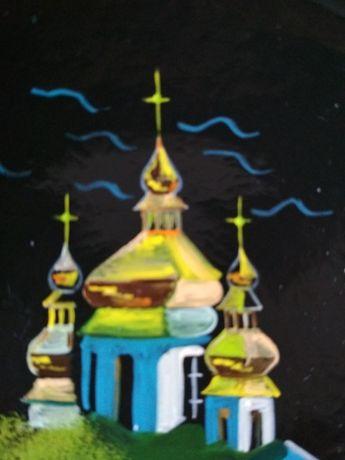 Тарелка северная Оригинал! Палех лаковая роспись Раритет СССР