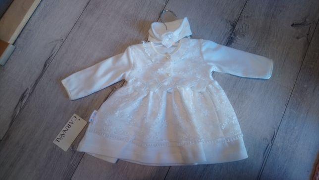 Sukienka biala chrzest 68 nowa
