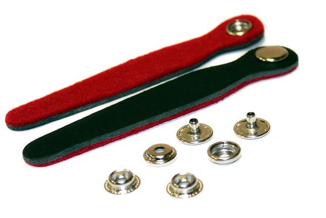 Paski spinające miech akordeonu BLACK/RED skóra/filc (komplet 2 szt)