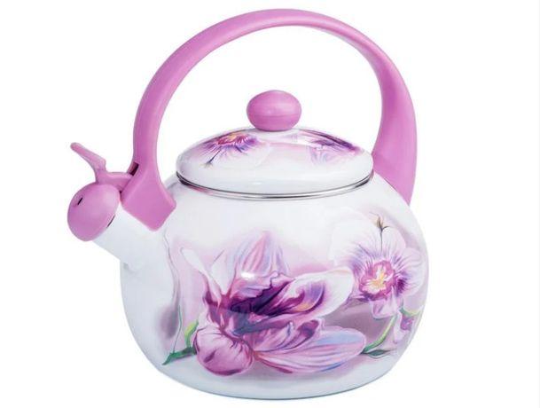 Чайник эмалированный 2,2л Орхидея