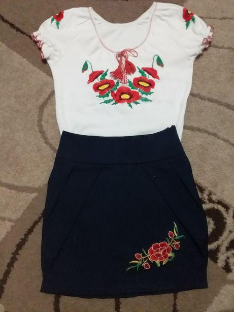 Школьная блузка  юбка вышиванка + подарок