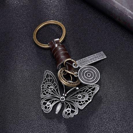 Кожаный брелк Ажурная бабочка Подарок