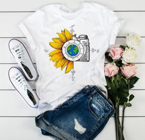 Vintage koszulka bluzka t-shirt aparat kompas słonecznik