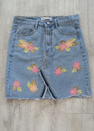 Spódnica jeansowa haft rozmiar S