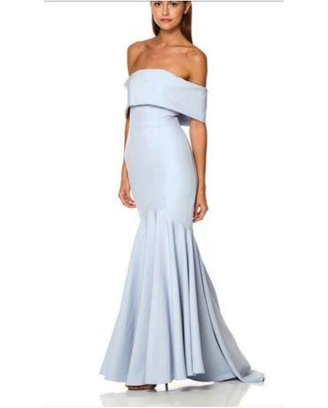 Przepiękna długa błękitna sukienka hiszpanka syrenka Asos XS
