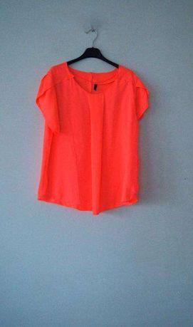 Neonowa pomaranczowa koralowa bluzka z krotkim rekawem t-shirt 40 L 38