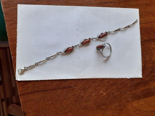 Komplet bransoletka + pierścionek srebro