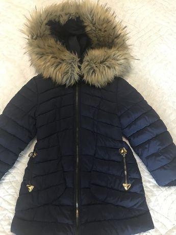 Зимнее пальто для девочки р.116