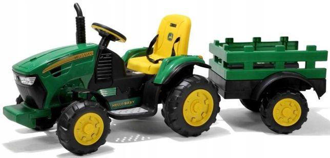 Duży Traktor na Akumulator John + Przyczepa 182cm Gumowe Koła