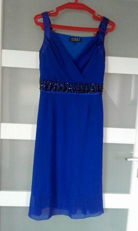 sukienka niebieska kobalt szafir 38