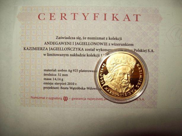 Andegaweni i Jagiellonowie. K. Jagiellończyk. Ag 925. złocona
