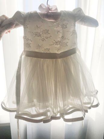 Платье нарядное на крестины на 3-7 месяцев (болеро и пинетки)
