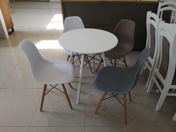 Promocja! Stół okrągły 70 cm, + 4 krzesła białe , promocja 449 zł