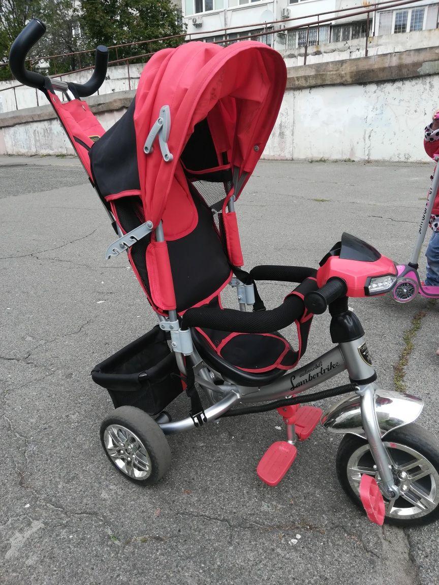 Детский велосипед с родительской ручкой, велосипед коляска