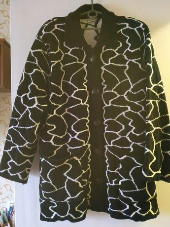 Теплое вязаное женское пальто (кардиган) 54р