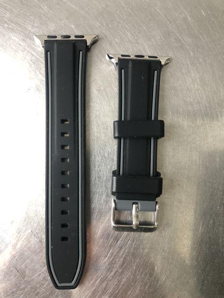 Bracelete nova Apple Watch borracha preto/cinzento 44 mm